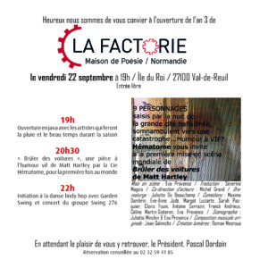 SORTIE DE RESIDENCE -  Cie L'ire des Volcans, Raphaël Sarlin Joly @ La Factorie Maison de Poésie